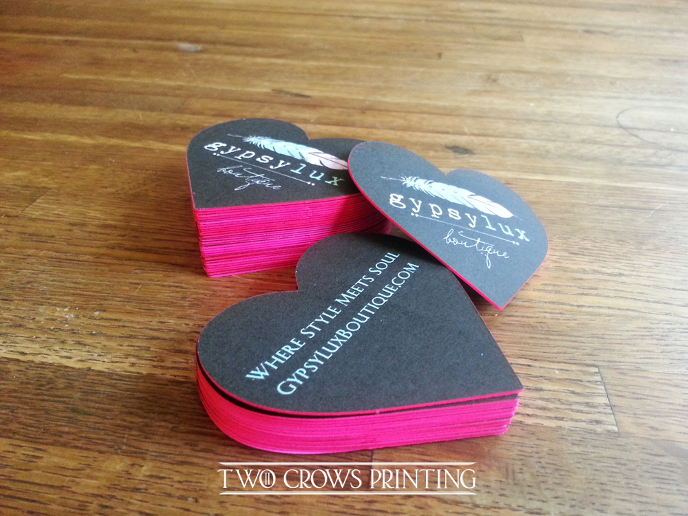Edge painted Heart shaped Die cut Business Cards